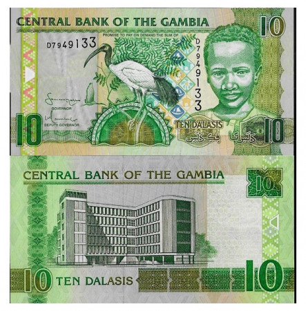 """ND (2006) * Billete Gambia 10 Dalasis """"Sacred Ibis"""" (p26a) SC"""