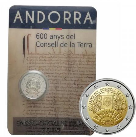 """2019 * 2 Euro ANDORRA """"600 años del Consejo de la Tierra"""" FDC"""