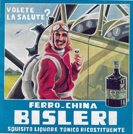 "1932 * Anuncio Original ""Ferro-China Bisleri (Azzurro) - BASSI"" en Passepartout"