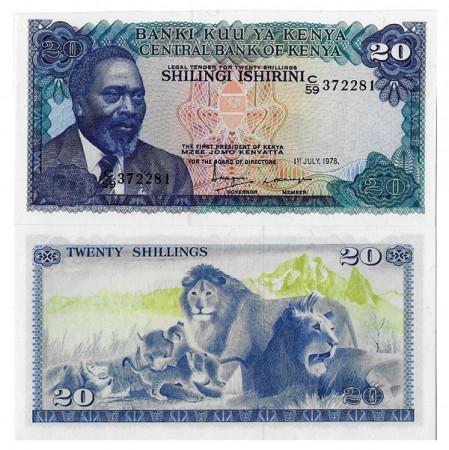 """1978 * Billete Kenia 20 Shillings """"President MJ Kenyatta"""" (p17) SC"""