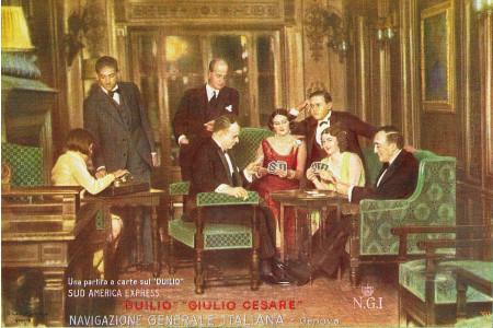"1930 * Anuncio Original ""Navigazione Generale Italiana - Partita A Carte - STUDIO TESLA"" en Passepartout"