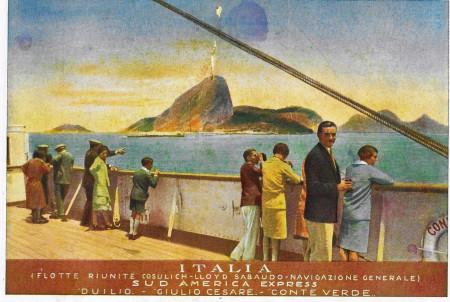 "1932 * Anuncio Original ""Italia Flotte Riunite -Duilio, Giulio Cesare, Conte Verde - STUDIO TESLA"" en Passepartout"