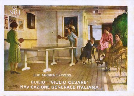 """1931 * Anuncio Original """"Navigazione Generale Italiana - Ping Pong - Duilio - STUDIO TESLA"""" en Passepartout"""