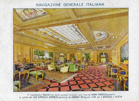 "1928 * Anuncio Original ""Navigazione Generale Italiana - Duilio (28/08/1928) - VALENTI"" en Passepartout"