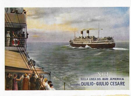 "1930 * Anuncio Original ""Navigazione Generale Italiana - Incontro Duilio e Giulio Cesare - STUDIO TESLA"" en Passepartout"