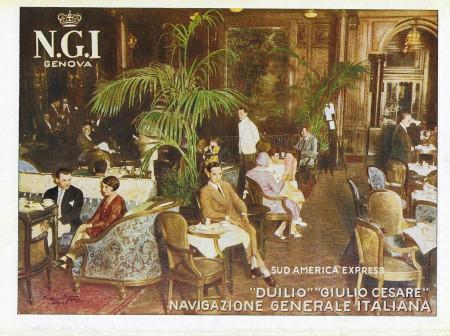 "1931 * Anuncio Original ""Navigazione Generale Italiana - Ristorazione - Duilio - STUDIO TESLA"" en Passepartout"