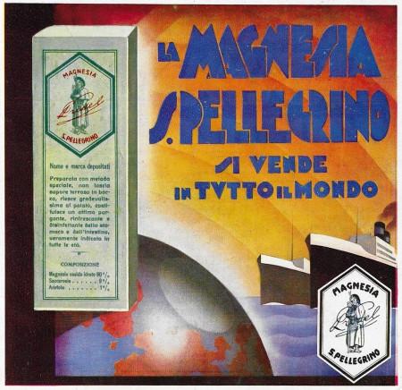 """1932 * Anuncio Original """"Magnesia San Pellegrino - Si Vende In Tutto Il Mondo"""" en Passepartout"""