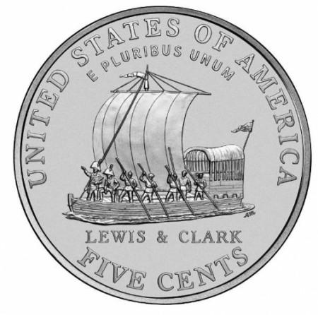 """2004 * 5 Cents Níquel de Dólar Estados Unidos """"Jefferson Nickel - Westward Journey, Keelboat"""" (KM 361) UNC"""