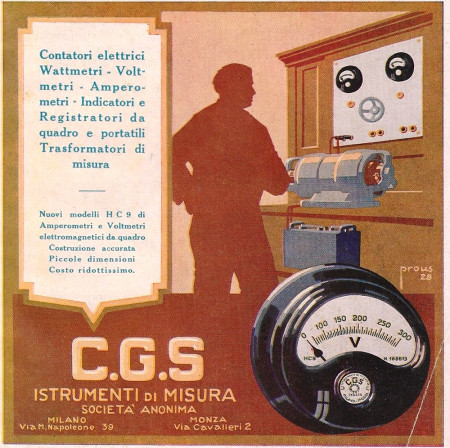 "1928 * Anuncio Original ""CGS - Contatori Elettrici Wattmetri, Voltmetri - PROUS"" en Passepartout"