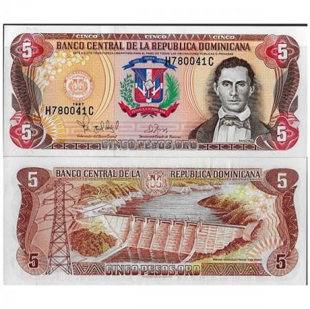 """1997 * Billete República Dominicana 5 Pesos Oro """"Francisco del R Sánchez"""" (p152b) SC"""