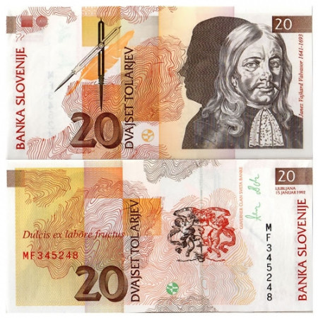 """1992 * Billete Eslovenia 20 Tólar """"J V Valvasor"""" (p12a) SC"""