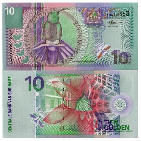 """2000 * Billete Suriname 10 Gulden """"Black-Throated Mango"""" (p147) SC"""