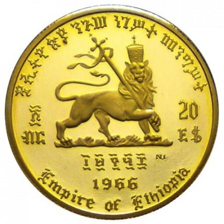 1966 * 20 Dolars en oro Etiopía 75º Nacimiento y 50 Jubileo