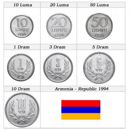 1994 * Serie 7 monedas Armenia República