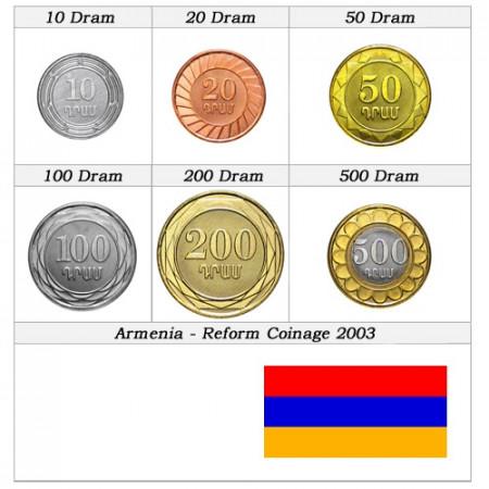 2003 * Serie 6 monedas Armenia Reforma de la moneda
