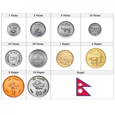 Años Mixto * Serie 10 monedas Nepal