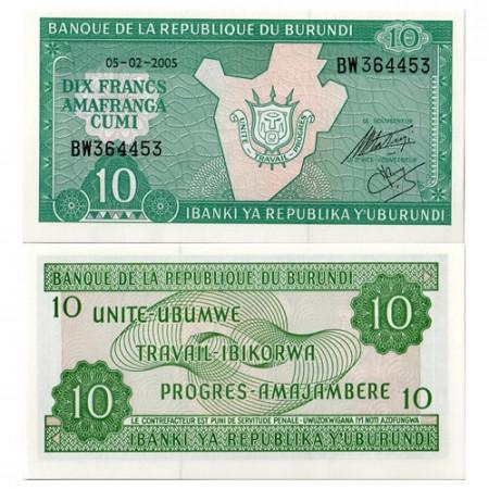2005 * Billete Burundi 10 Francs (p33e) SC
