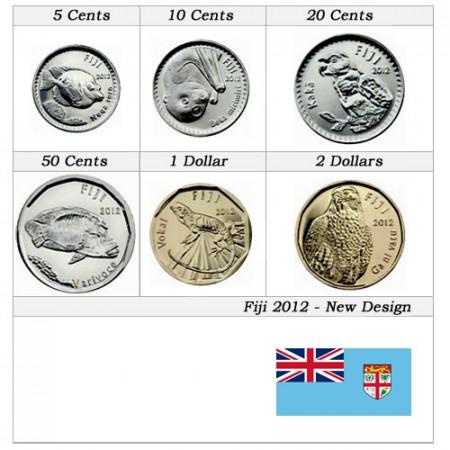 2012 * Serie 6 monedas Fiyi Nuevo Diseño