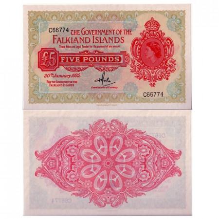 1975 * Billete Islas Malvinas 5 pounds EBC