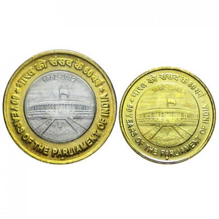 2012 * set rupias 2 monedas India 60° Parlamento India
