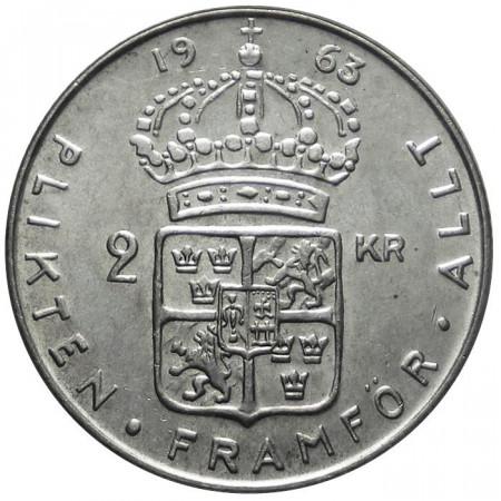1963 * 2 Kronor plata Suecia Gustavo VI Adolfo