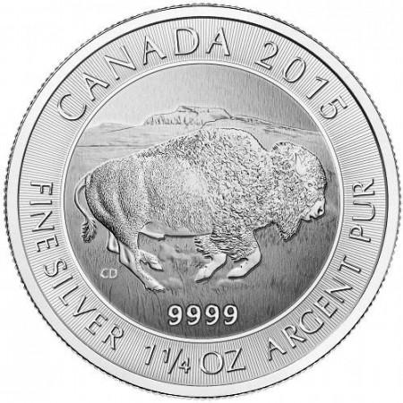 2015 * 8 Dólars de plata 1,25 OZ Canadà Bisonte Americano