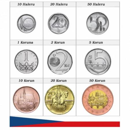 Años Mixto * Serie 9 monedas República Checa