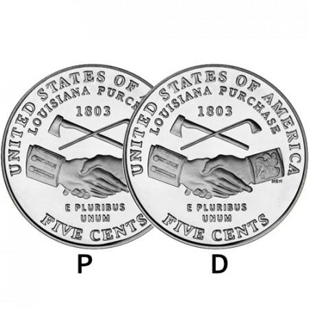 "2004 * 2 x 5 Cents Níquel de Dólar Estados Unidos ""Jefferson Nickel - Louisiana Purchase"" (KM 360) P+D"