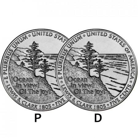 "2005 * 2 x 5 Cents Níquel de Dólar Estados Unidos ""Jefferson Nickel - Westward Journey, Ocean View"" (KM 369) P+D"