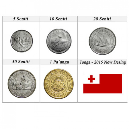 "2015 * Serie 5 Monedas Tonga ""Nuevo Diseño"" UNC"