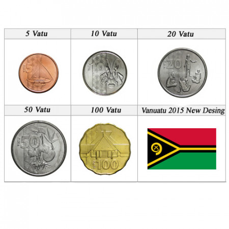 "2015 * Serie 5 Monedas Vanuatu ""Nuevo Diseño"" UNC"