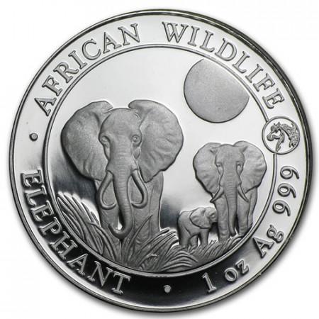 "2014 * 100 Chelínes Plata 1 OZ Somalia ""Elefante - Año de Caballo"" Privy Mark"