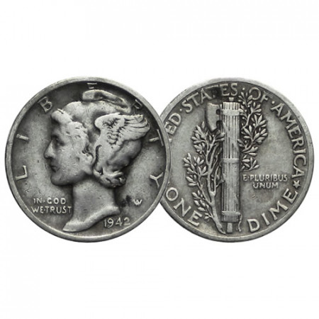 """1942 (P) * 10 Cents (Dime) Dólar Plata Estados Unidos """"Mercury Dime"""" (KM 140) MBC"""