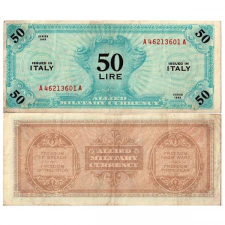 "1943 FLC (F) * Billete Italia 50 AM Lire ""Ocupación Estadounidense"" A.1116 Italiano (pM14a) MBC"