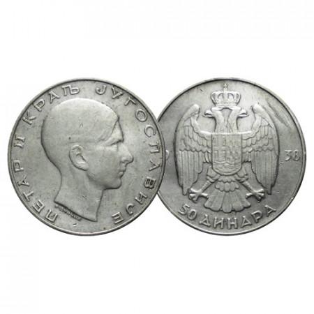 "1938 * 50 Dinara Plata Yugoslavia ""Pedro II"" (KM 24) MBC"