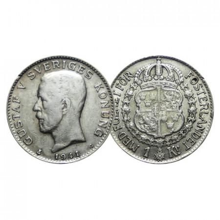 """1941 G * 1 Krona Plata Suecia """"Gustavo V - Escudo"""" (KM 786.2) MBC"""