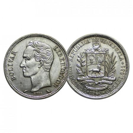 "1960 * 1 Bolivar Plata Venezuela ""Simón Bolívar"" (Y 37a) EBC"