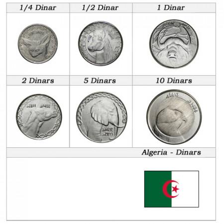"""Años Mixto * Serie 6 Monedas Argelia """"Dinars"""" UNC"""