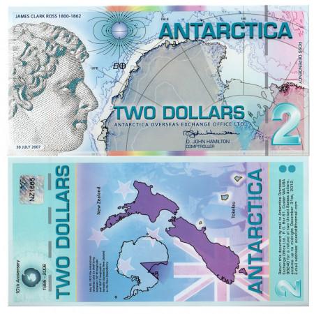 2007 * Billete Polímero Antártica 2 ant.dollars EBC