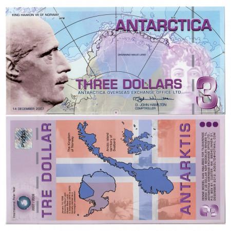 2007 * Billete Polímero Antártica 3 ant.dollars EBC