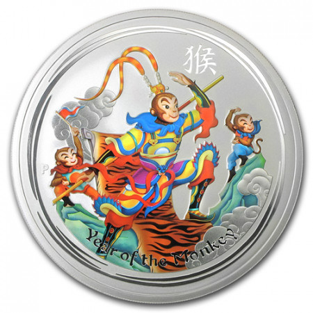 "2016 * 1 Dólar Plata 1 OZ Australia ""Monkey King"" Colorido"