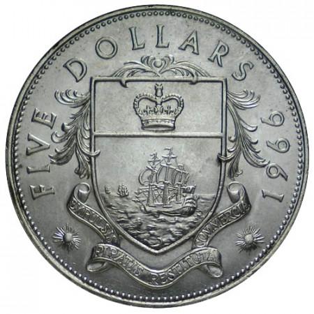 1966 * 5 Dólars Bahamas