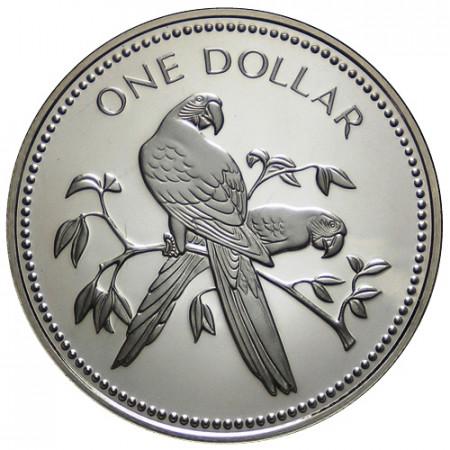 "1975 * 1 Dollar Belice ""Scarlet Macaws"" (KM 43) PROOF"