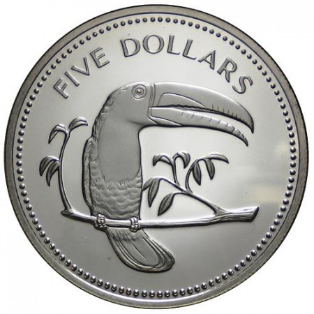 "1975 * 5 Dollars Belice ""Keel-Billed Toucan"" (KM 44) PROOF"