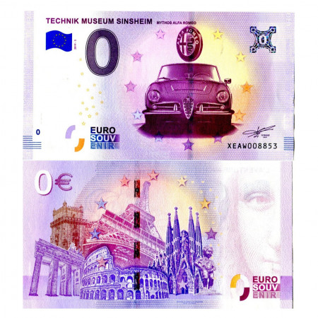 "2019-5 * Billete Souvenir Alemania Unión Europea 0 Euro ""Technik Museum Sinsheim - Mythos Alfa Romeo"" SC"
