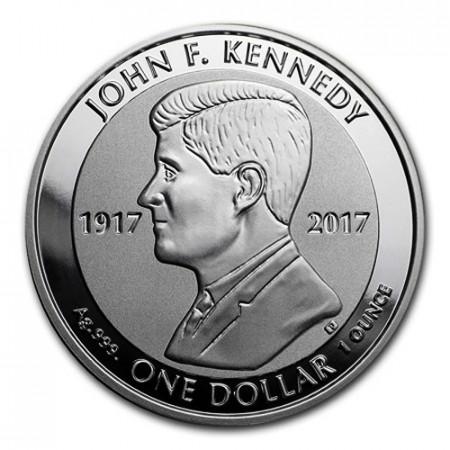 """2017 * 1 Dollar Plata 1 OZ Islas Vírgenes Británicas """"JF Kennedy"""" Prooflike"""