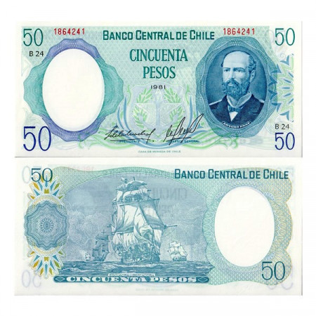 "1981 * Billete Chile 50 Pesos ""Arturo Prat"" (p151b) SC"