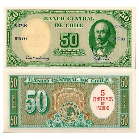 """ND (1960-61) * Billete Chile 5 Centesimos su 50 Pesos """"Anibal Pinto"""" (p126) """" SC"""