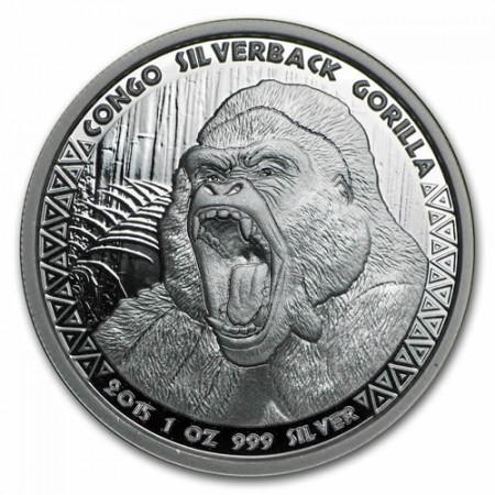 """2015 * 5000 Francs Plata 1 OZ Congo República """"Gorilla"""" Prooflike"""