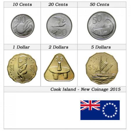 """2015 * Serie 6 Monedas Islas Cook """"Nuevo Diseño"""""""